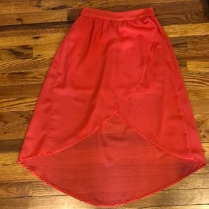 Charlotte Russe coral hi-low skirt. Size Small.